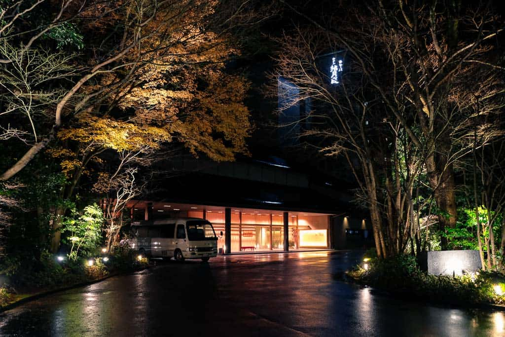 exterior of luxury hotel in Kinosaki onsen, Japan
