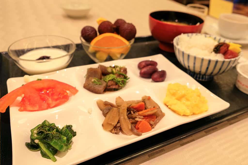 breakfast plate at Nishimuraya Hotel Shogetsutei, a luxury hotel in Kinosaki, Japan
