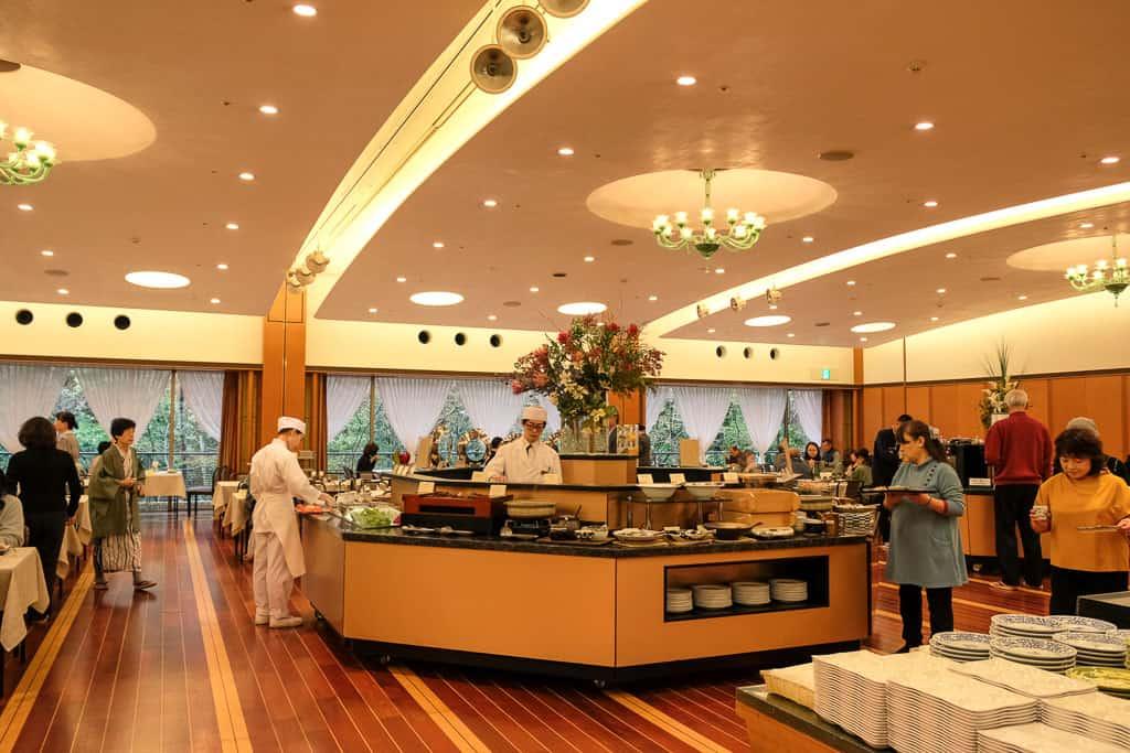 Breakfast buffet in Japanese luxury hotel in Kinosaki, Japan