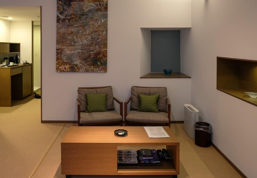 living room at Nishimuraya Hotel Shogetsutei, a luxury hotel in Japan