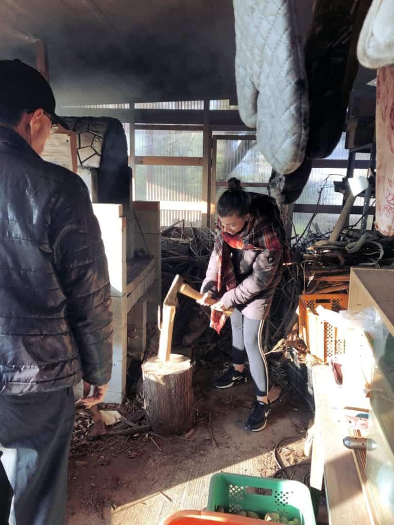 Cutting wood in Izumi, Kagoshima, Japan