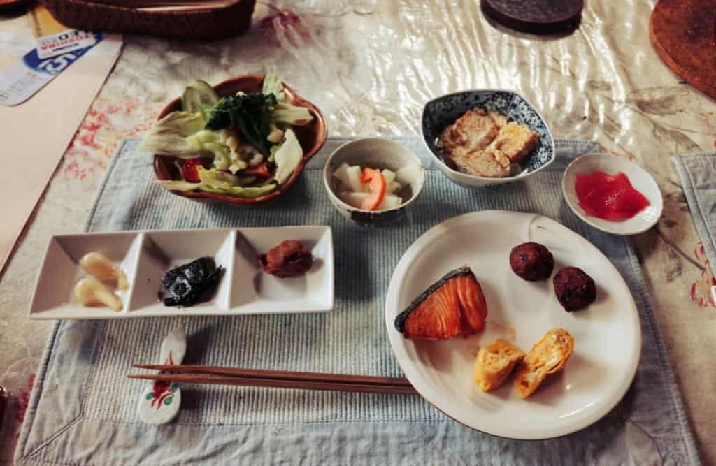 Japanese breakfast in Izumi, Kagoshima, Japan