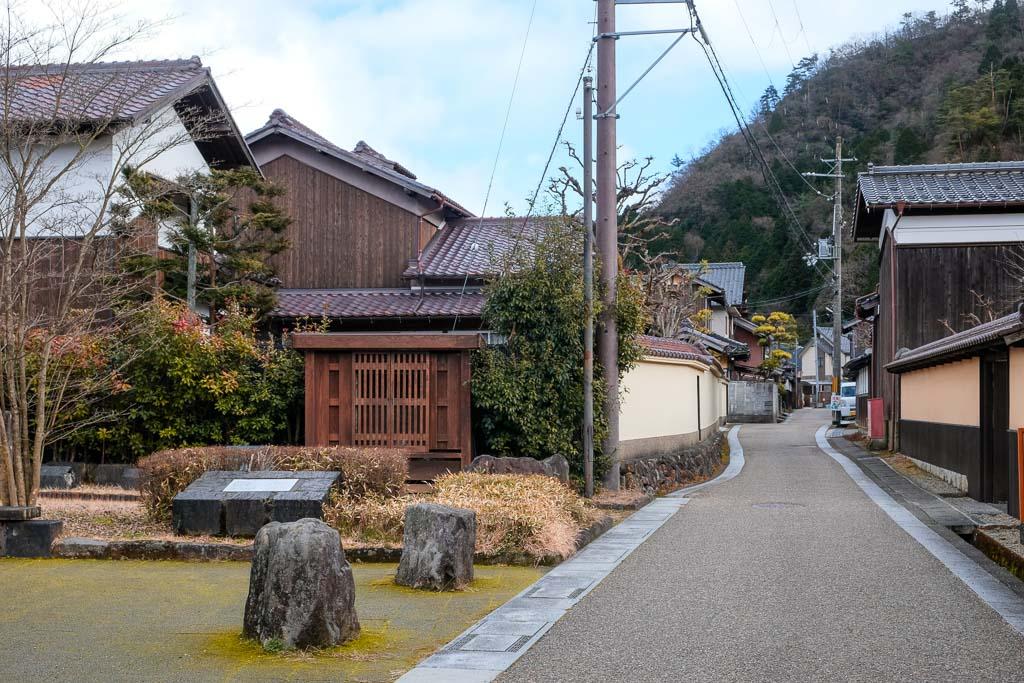 old Japanese mining street  with traditional Japanese residences down at Kuchiganaya in Japan