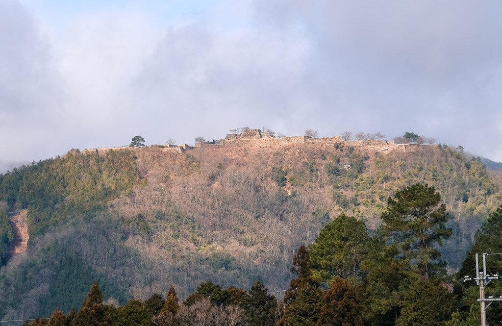 Japanese castle in the sky at Takeda Castle Ruins, Japan