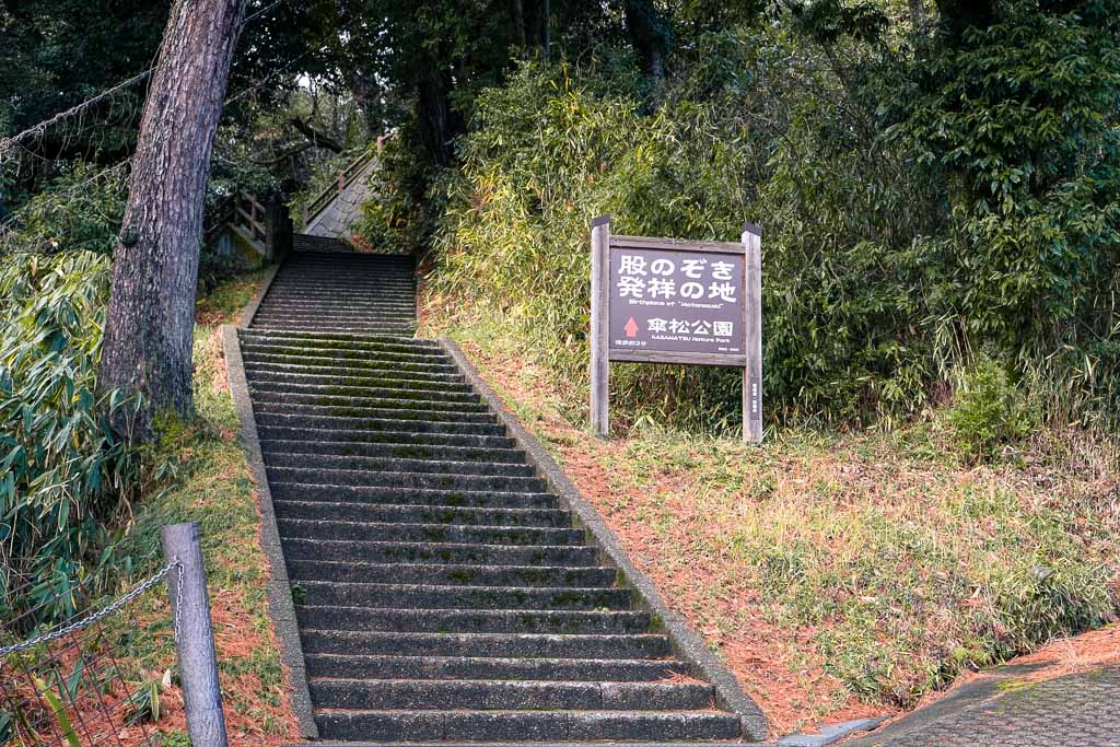 stairs leading up to Amanohashidate, one of the top three scenic sights in Japan
