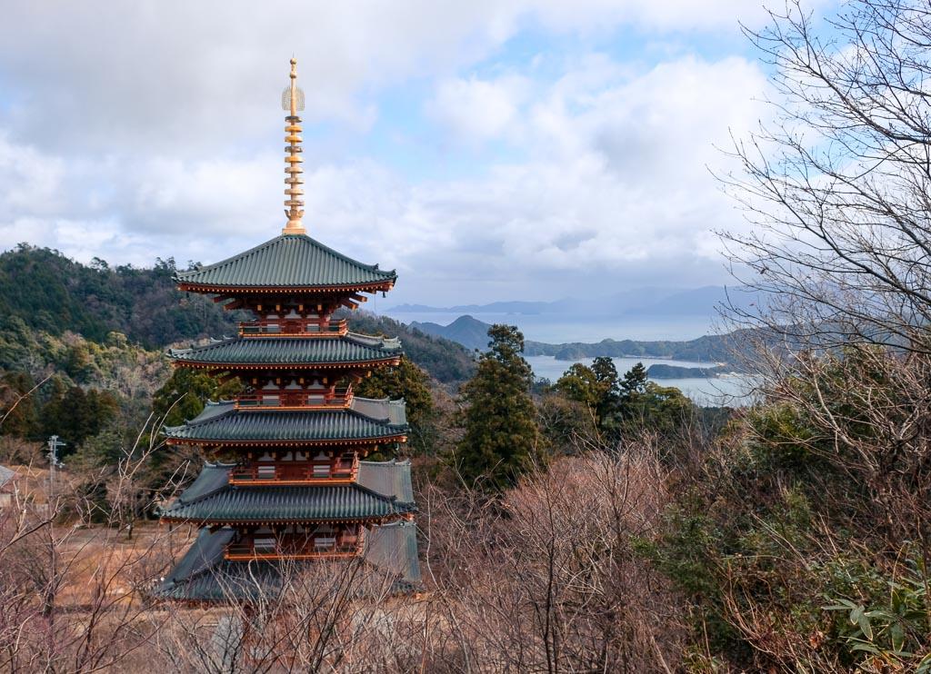 pagoda with a view of amanohashidate bay area