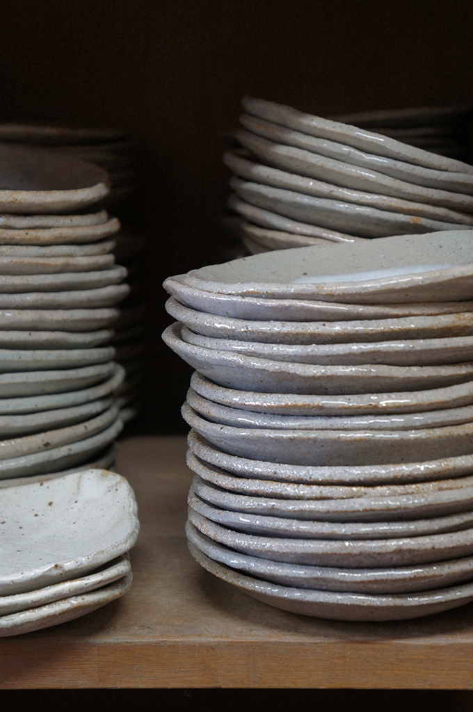 A pile of ceramic plates