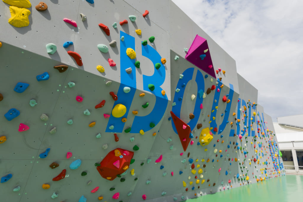 Climbing wall at Sporu sports facility in Tokyo