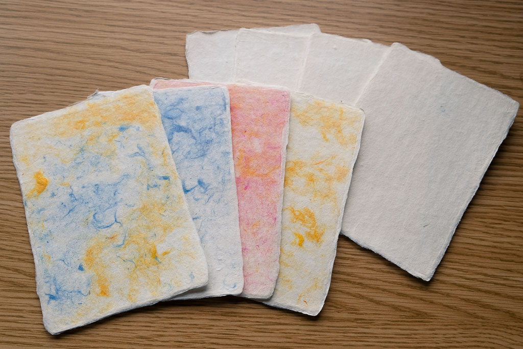 Traditional Handmade Japanese washi paper with colored threads