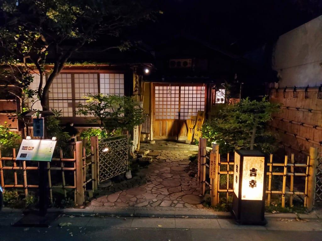Outside Kikko Restaurant in Asakusa, Tokyo