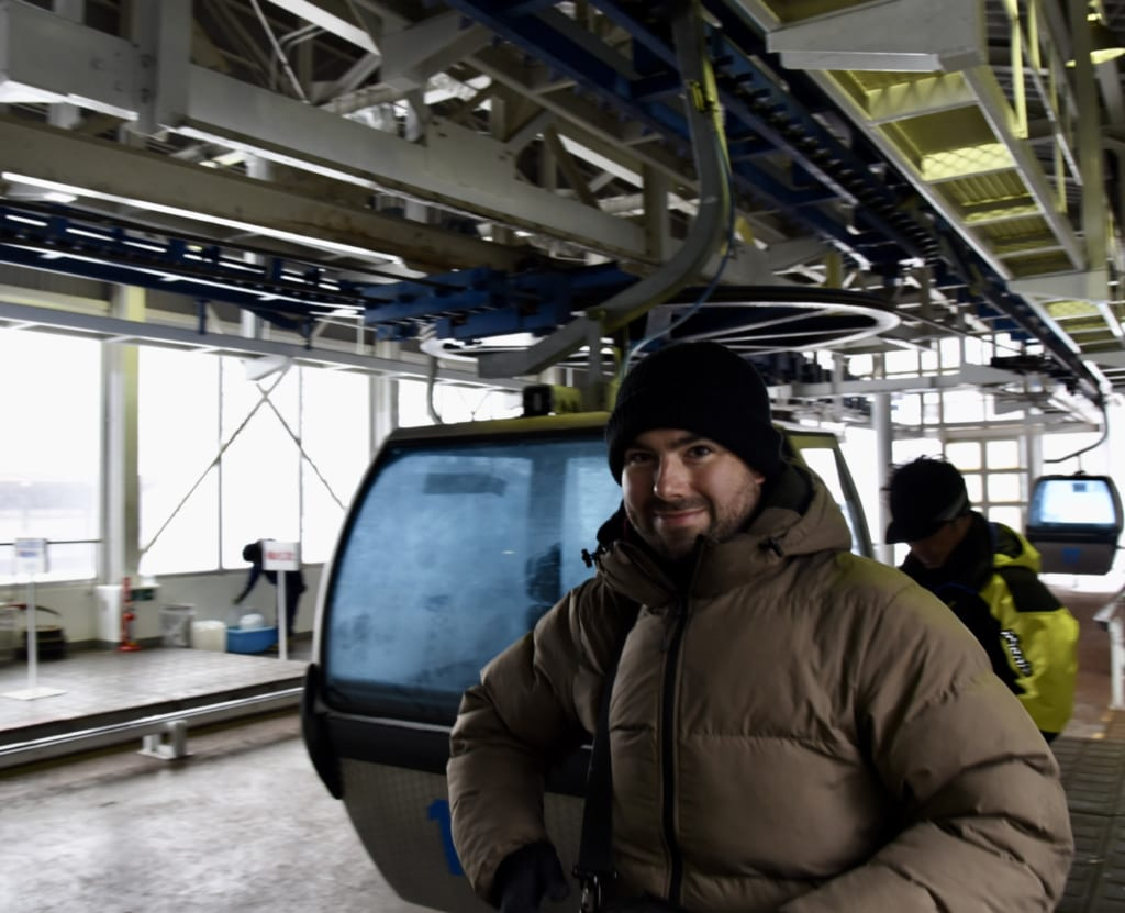 Mark riding the Hakodate Snow Park Gondola