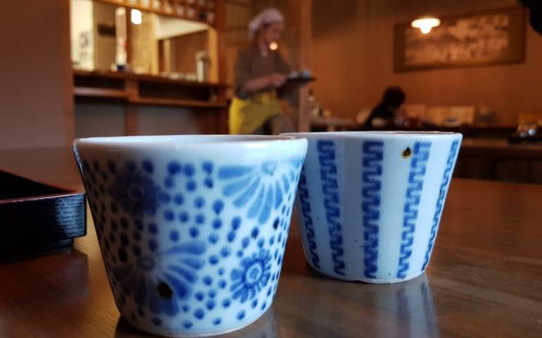 Japanese ceramic at Tomi Soba, Ehime, Shikoku, Japan.