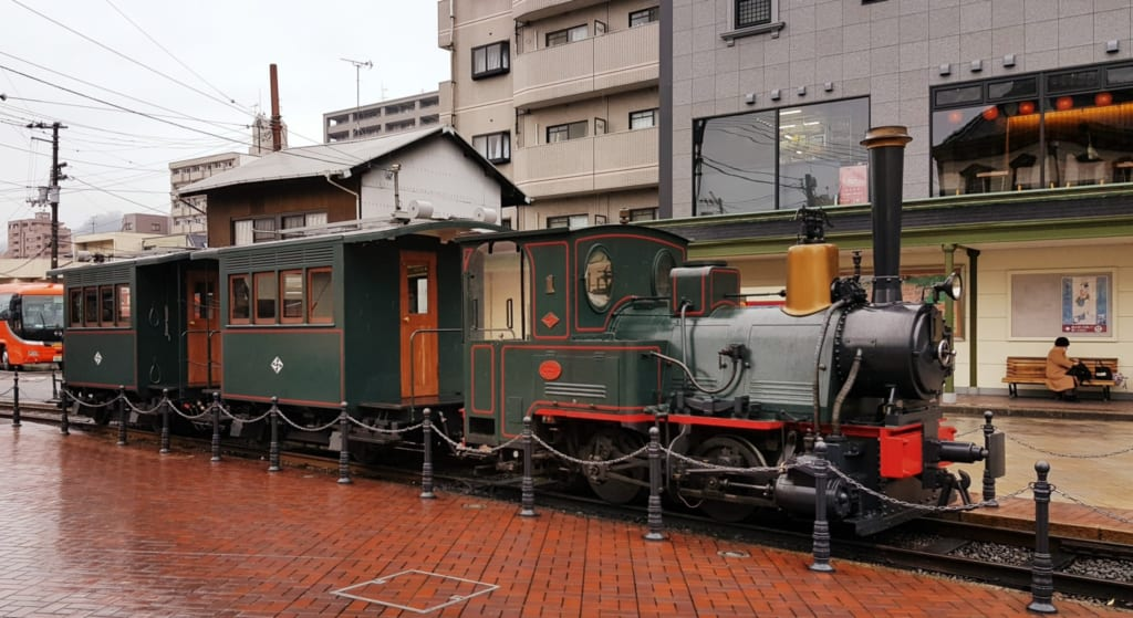 Botchan tram at Dogo Onsen station.