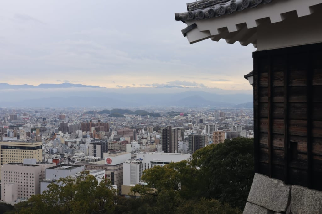 Panoramic view from Matsuyama castle in Ehime, Shikoku, Japan.