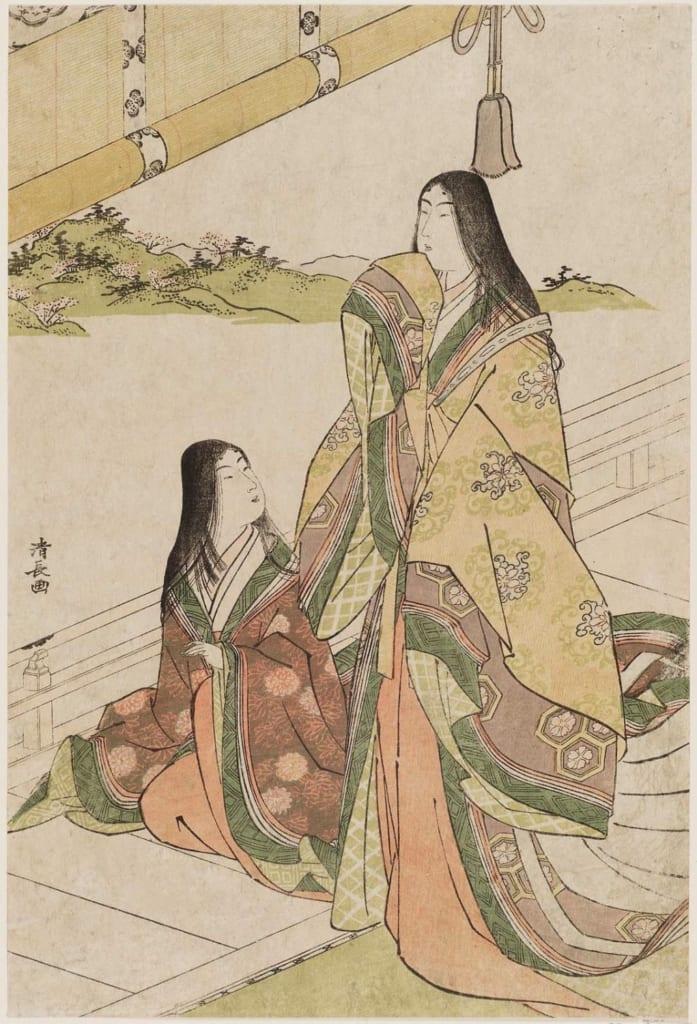 Japanese print by Torii Kiyonaga showing two women
