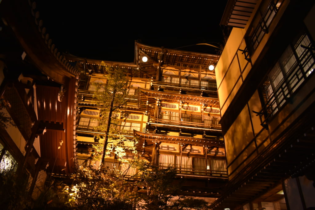 Historic ryokan by night