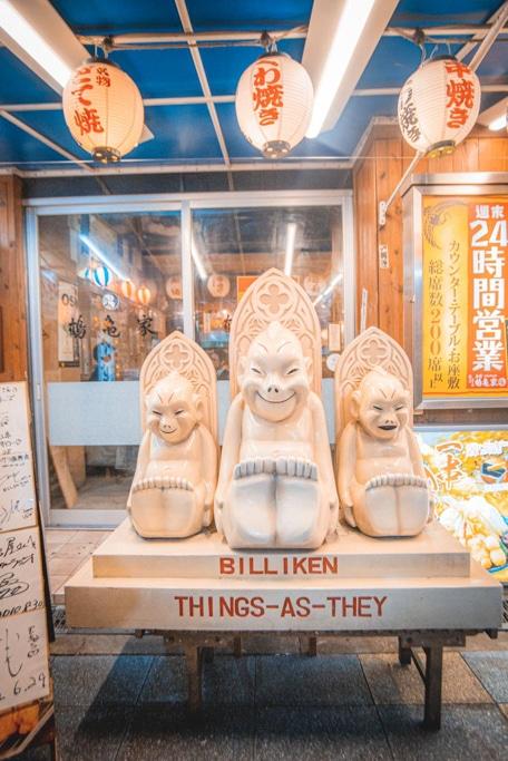 Three Billiken in Shinsekai, Osaka