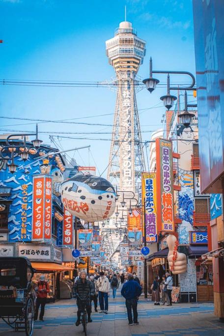 Commercial street in Shinsekai, Osaka