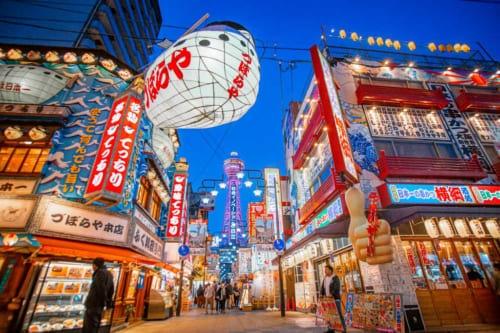 Neon lights in Shinsekai Osaka