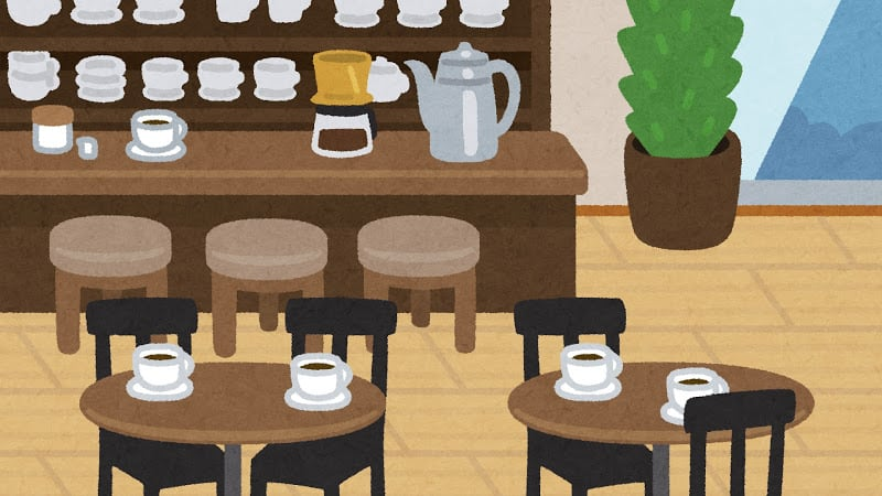 illustration of the inside of a cafe