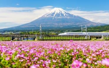 The Tokaido Shinkansen passing Mt Fuji in Shizuoka Prefecture