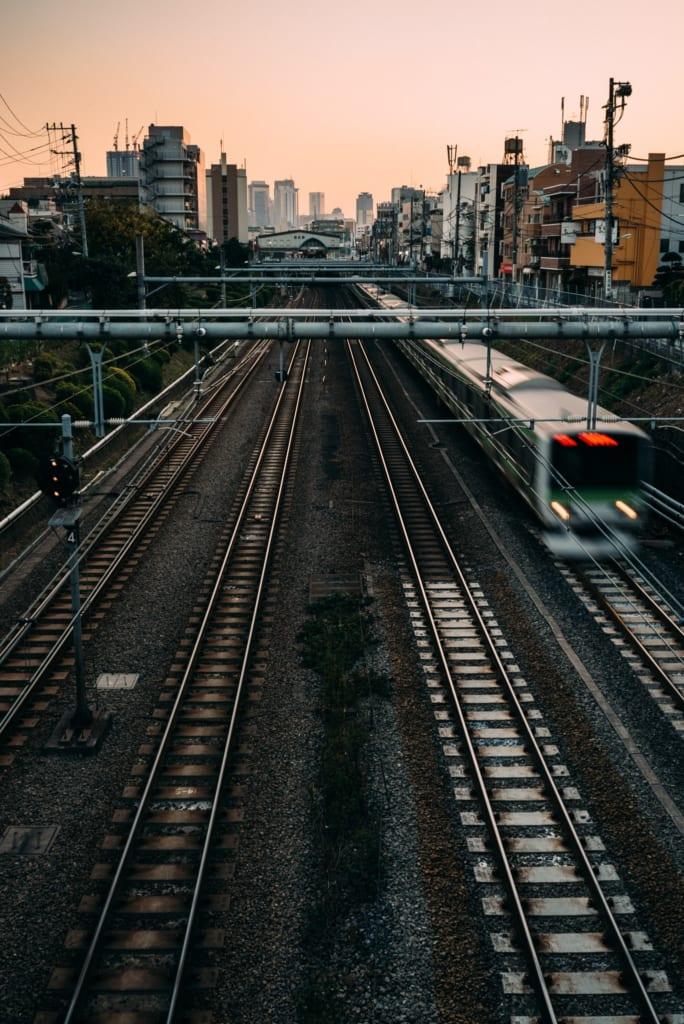 JR Yamanote Line train at sunset