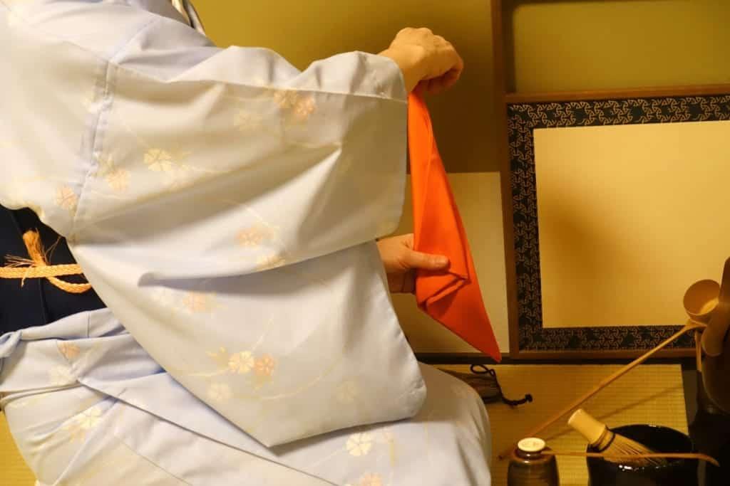 Folding the fukusa used for Japanese tea ceremony