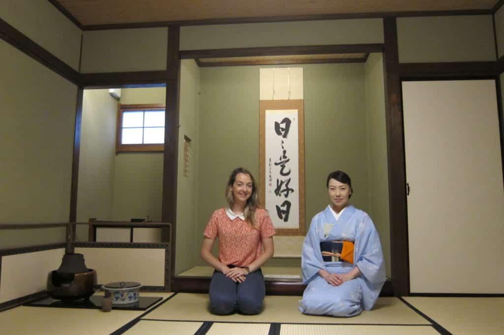 Mika and I, in the traditional tea ceremony room at Shizukokoro school