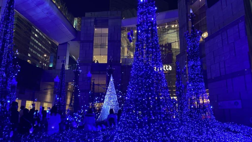 Blue lights of Caretta Shiodome illuminations