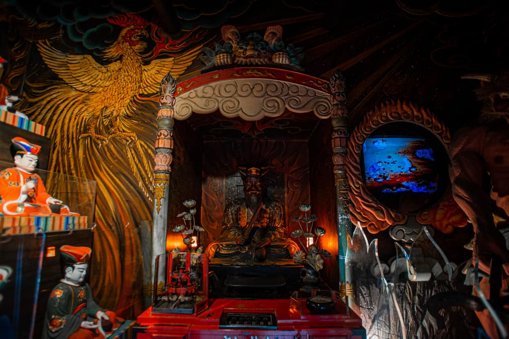 Enma, Guardian of the underworld. Fudo Myoo, buddhism deity. Senkoji temple, Osaka