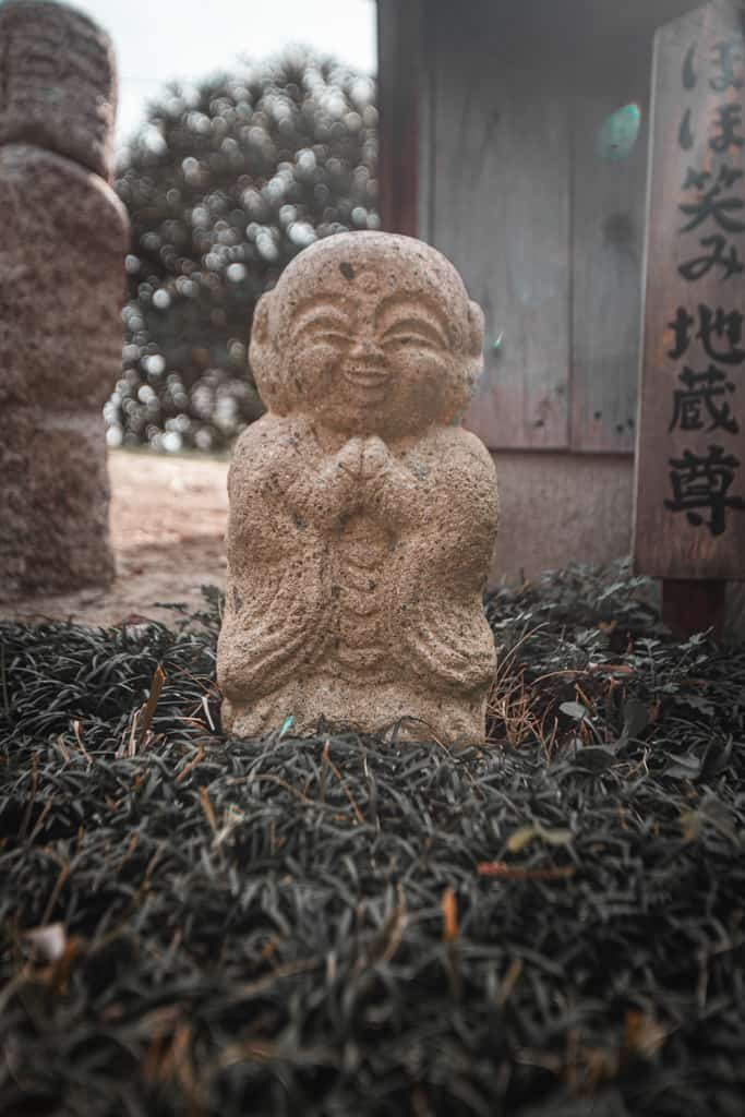 Jizo statue in Fudo Myoo, buddhism deity. Senkoji temple, Osaka