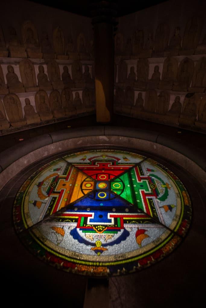 Sacred Mandala. Fudo Myoo, buddhism deity. Senkoji temple, Osaka