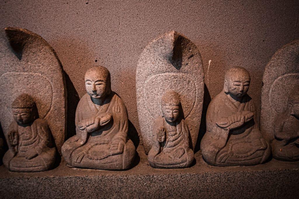 Buddha statues. Fudo Myoo, buddhism deity. Senkoji temple, Osaka