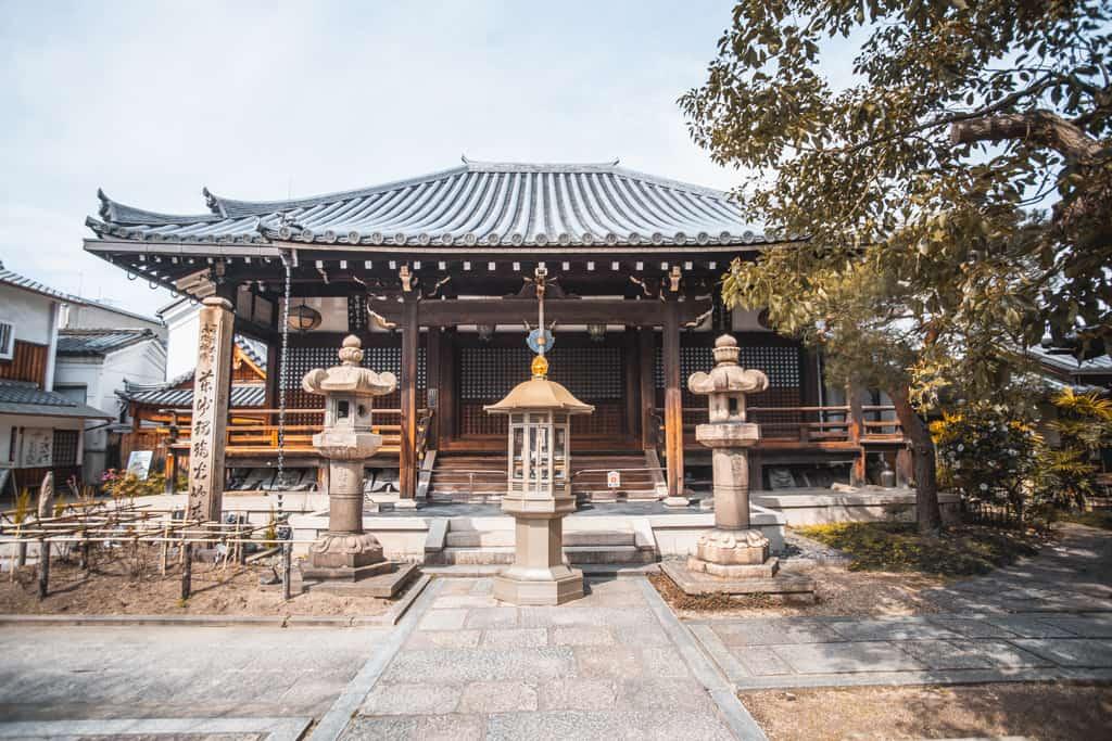 Main hall. Fudo Myoo, buddhism deity. Senkoji temple, Osaka
