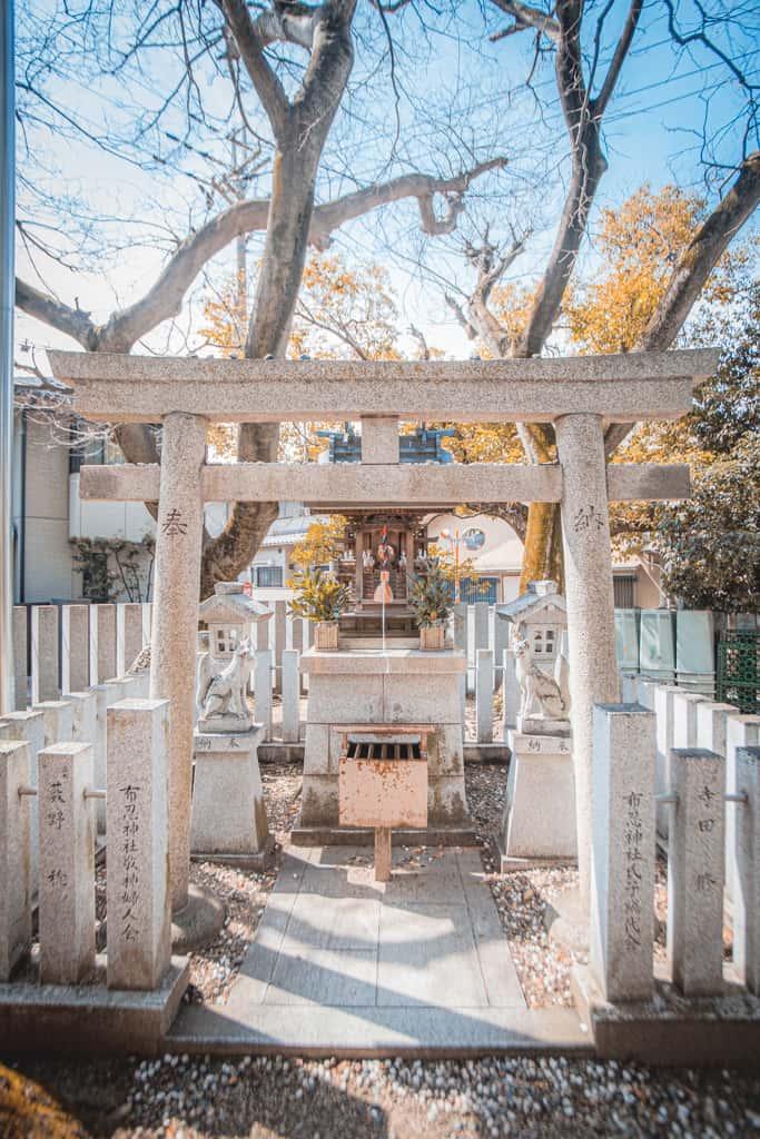 Stone torii gates. Nunose shrine, Osaka