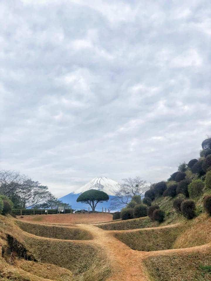 Mt Fuji and the remaining earthern moats of Yamanaka castle along Hakone Hachiri on the Tokaido Road