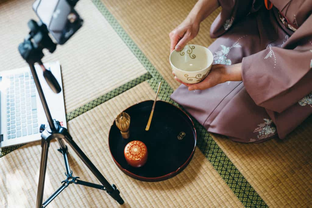 tea instructor explaining how to make matcha during an online tea ceremony