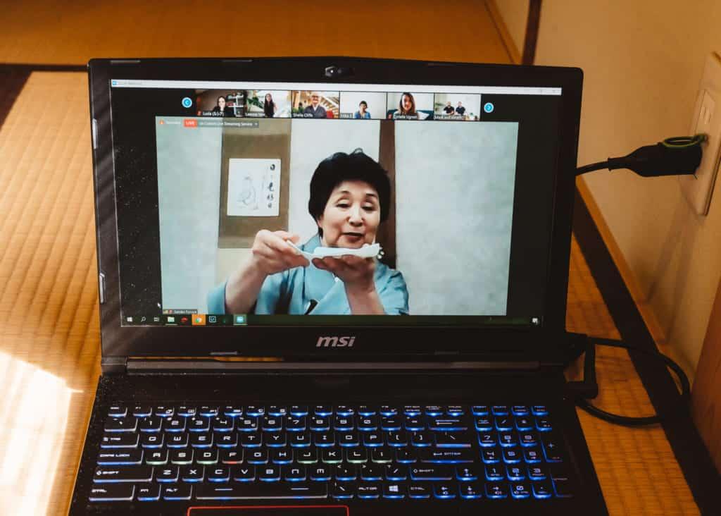 tea teacher during online tea ceremony