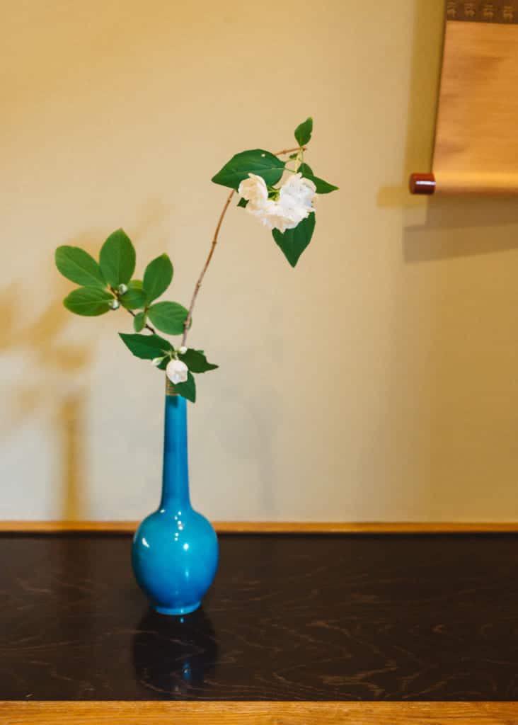 blue vase with flowers for tea ceremony