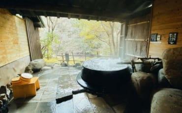 One of the rotenburo in Tensui ryokan in Hita, Oita, Japan