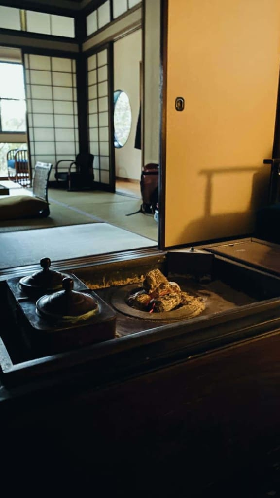 The brazier of the anteroom in the ryokan, Hita, Oita, Japan.
