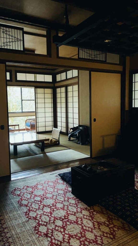 The views of the main room from the anteroom in the ryokan, Hita, Oita, Japan.