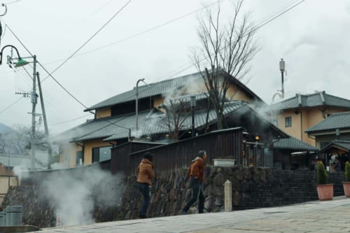 Streets of Beppu, with the steam going up from the floor