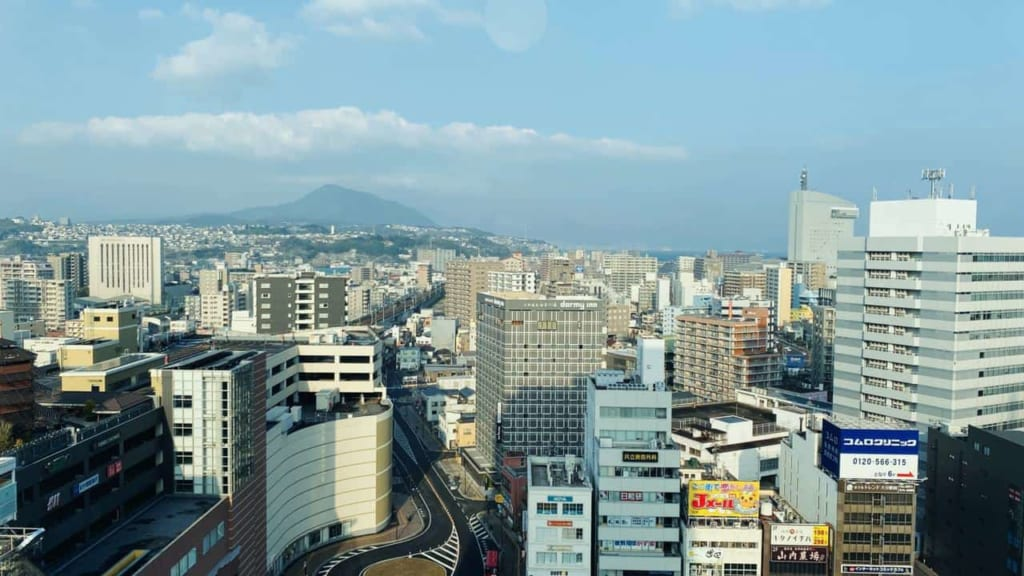 The views from my room at the JR Kyushu Blossom Oita Hotel in Oita, Japan
