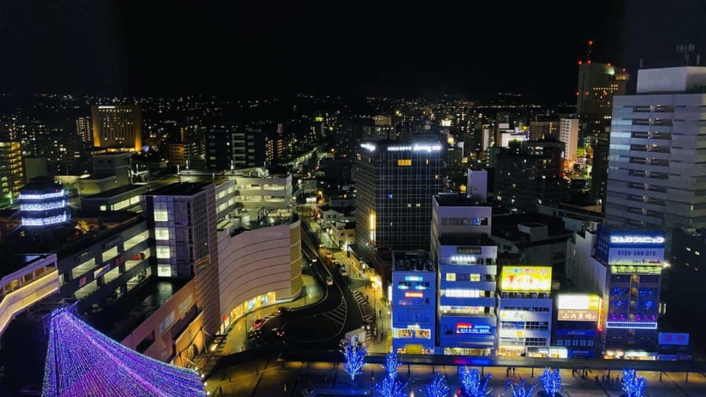 Views at night from the JR Kyushu Blossom Oita Hotel in Oita, Japan