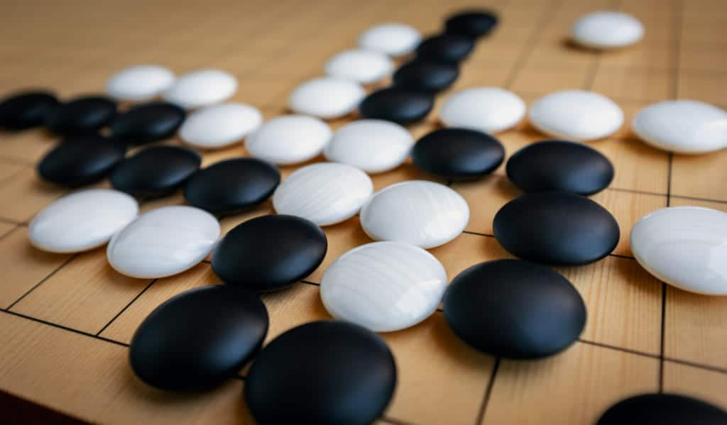 the game of go, a very old tradition in Japan