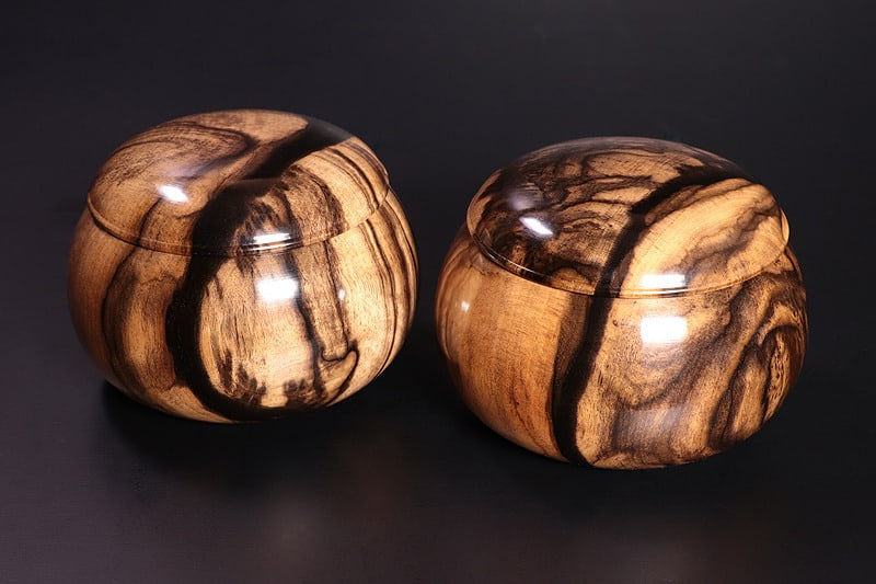 go bowls made out of parsimmon wood