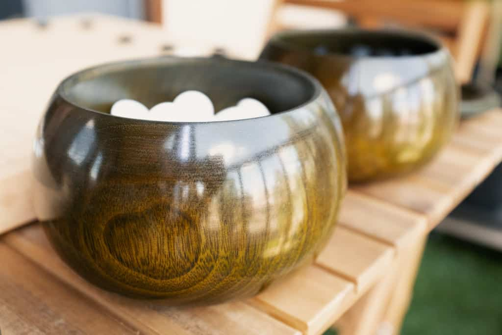 go bowls for a traditional game of go made in japan