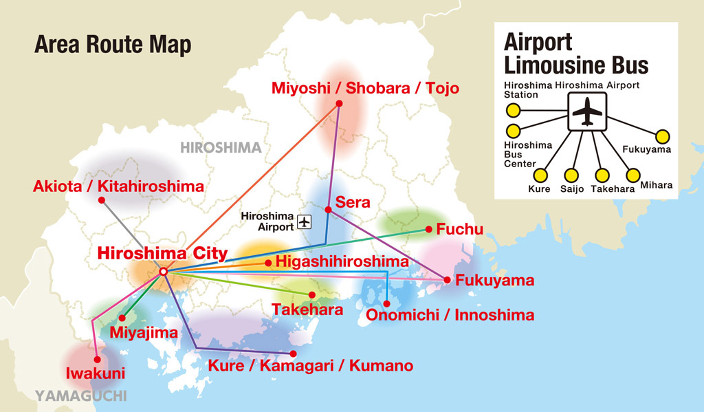 Hiroshima Wide Area Pass Map with Airport limousine
