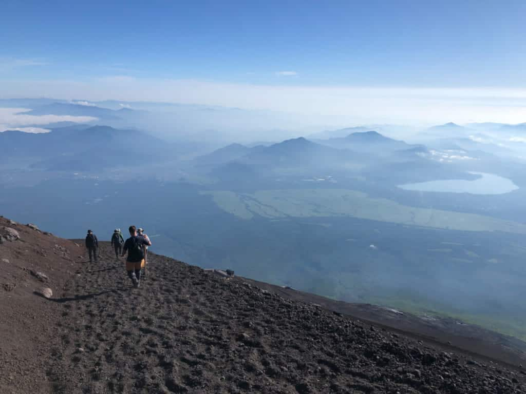 Hiking down Mt Fuji